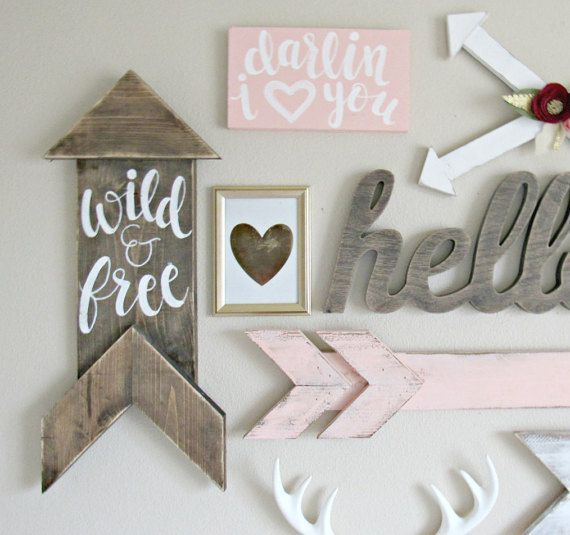 awesome Woodland Nursery Decor // Wild & Free Wood Sign // Hand-Lettered Hand-Painted // Rustic Arrow by http://www.top-100-home-decor-pics.club/girl-room-decor/woodland-nursery-decor-wild-free-wood-sign-hand-lettered-hand-painted-rustic-arrow/