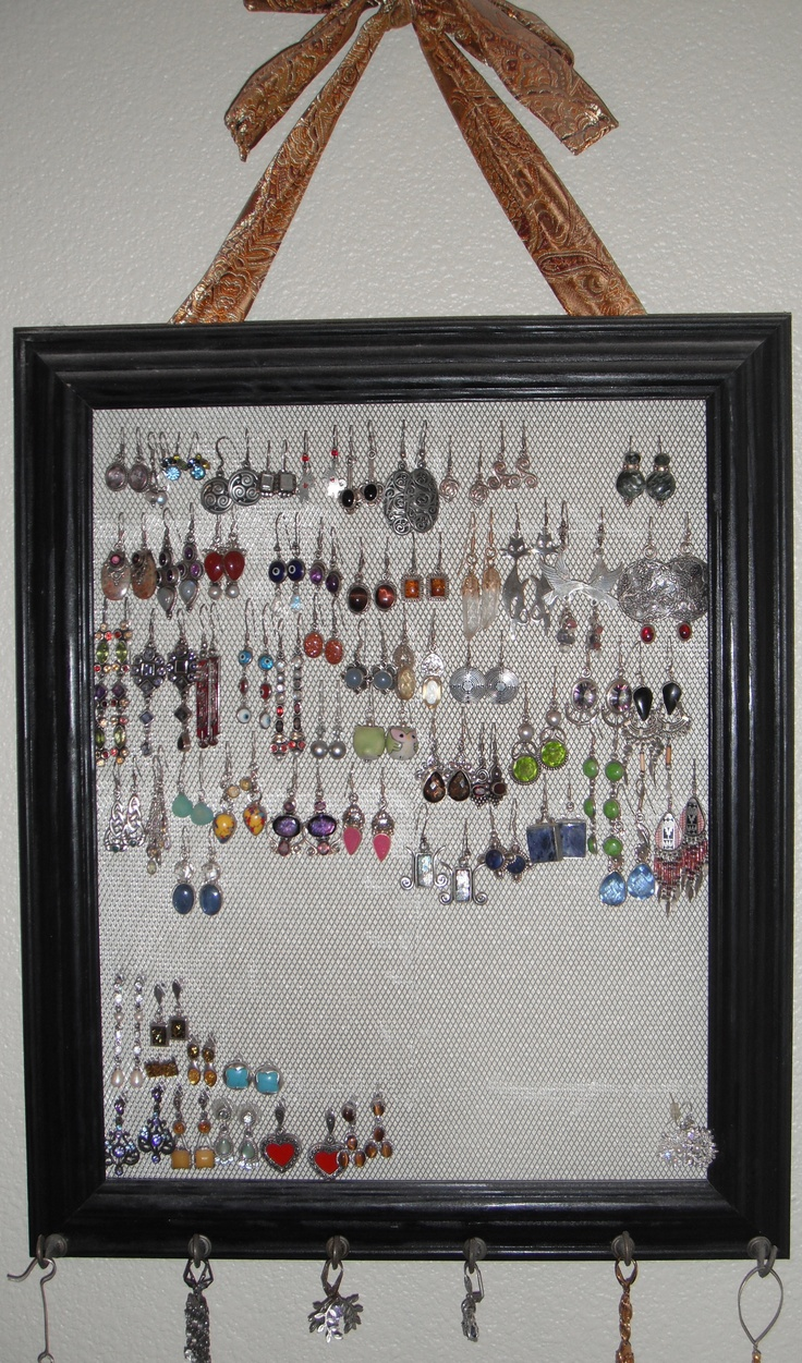 Earring Holder: Remove Glass From A Picture Frame Back With Wire  Sculptural Mesh From