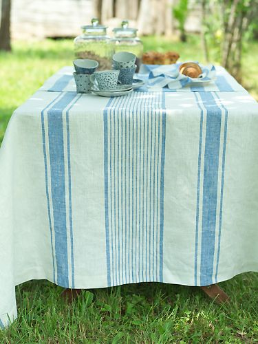 Perfect Blue Linen Tablecloth Tuscany LinenMe