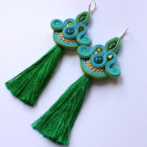 Idea para los pompones que me regaló Marlene Elegant long turquise Soutache Earrings by DILETTANTEsoutache, $162.00