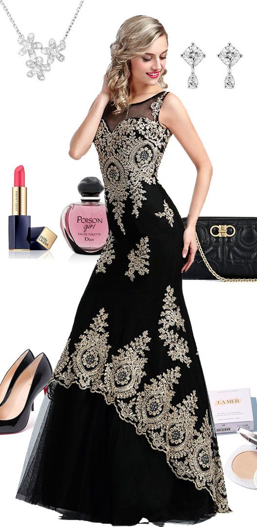 1dfd02d2270 Stunning Gold Lace Appliques Prom Gown (36173400)   Long prom dresses