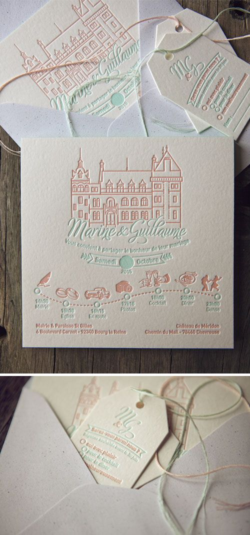 Faire-part mariage rose pêche et vert d'eau modèle Cocorico Letterpress