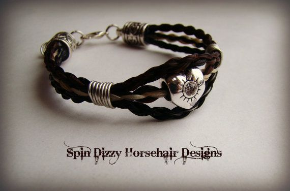 Triple strand horsehair bracelet. Great by SpinDizyEquineDesign