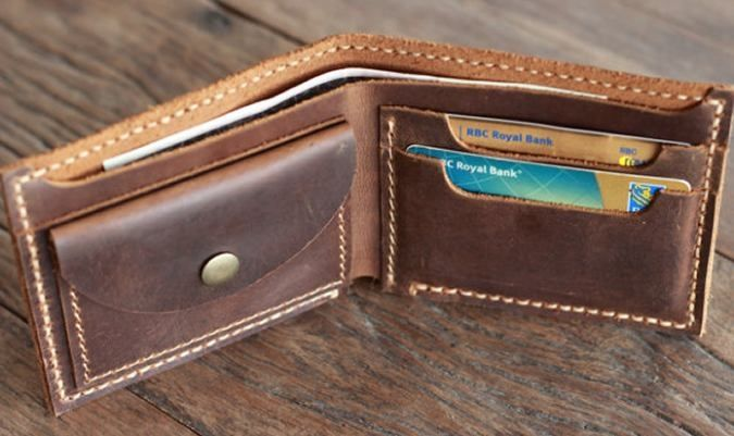 Mens Distressed Leather Wallet with Coin Pocket By JooJoobs Interior View Filled
