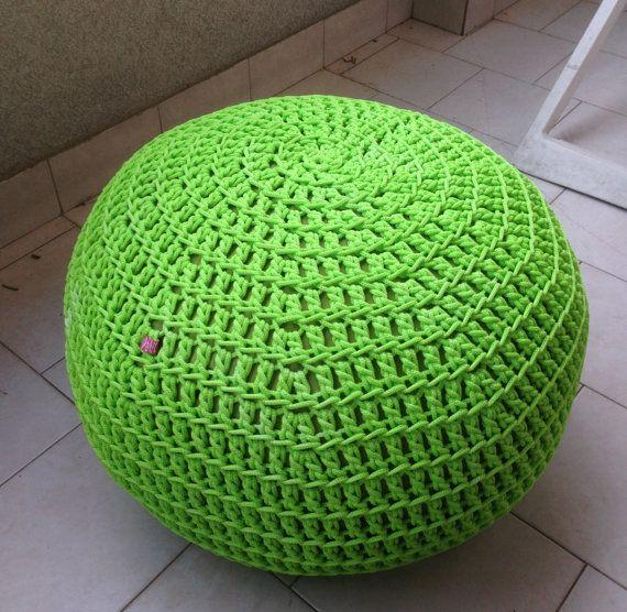 Blue Floor Cushion | Crochet Pillow | Outdoor Cushion | Outdoor Ottoman |  Footstool | Floor Pouf | Pouffe | Bean Bag | Meditation Cushion