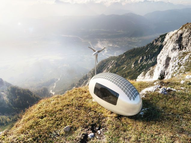 """Ecocapsule, which calls itself """"the first truly independent micro-home,"""" is a new, teeny tiny smart home powered entirely by the sun and the wind"""