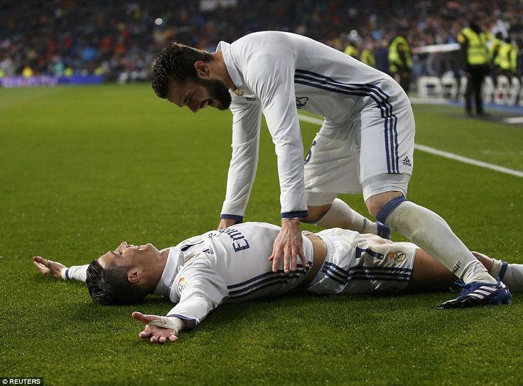 Ronaldo sprawled out on the turf in celebration