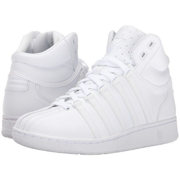 K-Swiss Classic VN Mid (White/White) Women's Tennis Shoes ($60) ❤ liked on Polyvore featuring shoes, athletic shoes, white, white eyelet shoes, lace up shoes, laced shoes, k swiss shoes and white shoes