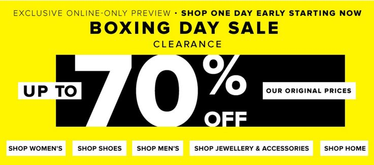 Hudsons Bay Canada Online Exclusive Boxing Day & Boxing Week 2015 Sale: Save Up to 70% Off http://www.lavahotdeals.com/ca/cheap/hudsons-bay-canada-online-exclusive-boxing-day-boxing/55158