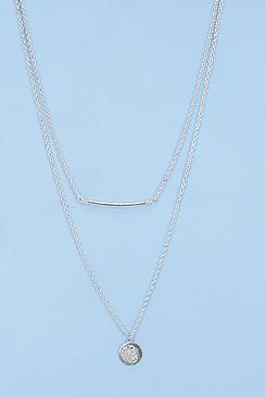 Evette Layered Bar anad Coin Necklace