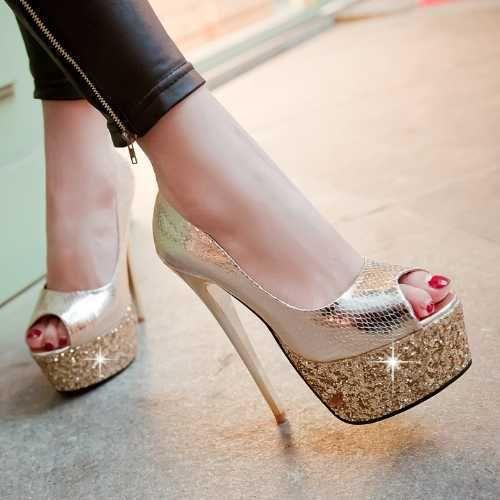 Мода Блеск женские Свадебные Туфли Романтическая Свадебная Обувь Королева Стиль Насосы Сексуальные Ультра Высокие Каблуки Золото Серебро Туфли На Платформе