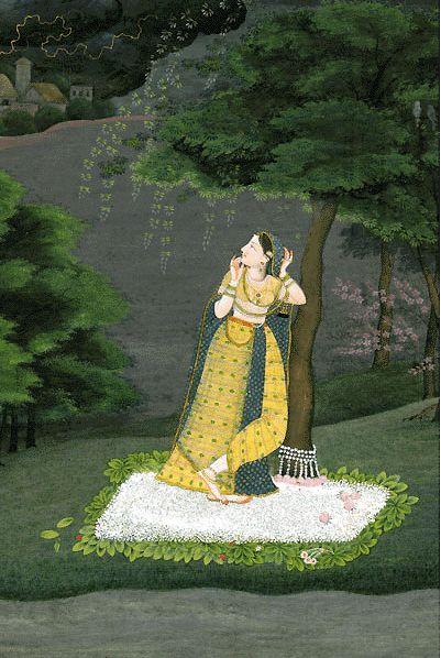 """Radha, waiting"", Kangra painting, under Sansar Chand (ca.1765-1823), Himachal Pradesh, India"