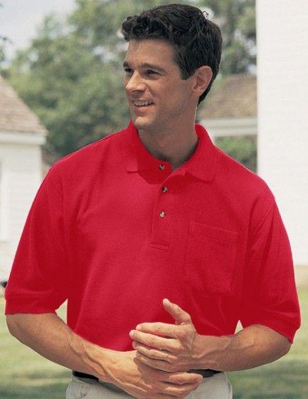 Big Mens Signature 8.2 oz 100% Combed Cotton Pique Pocket Polo Golf Shirt - 5XL (5X) ( Red )