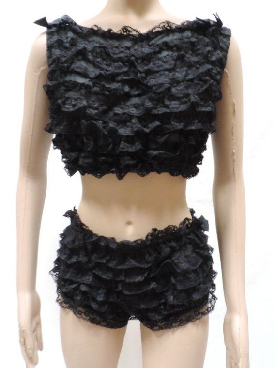 Ruffle Panties Chiffon Baby Doll Lingerie Set Henson Kickernick Panty  Nightgown Vintage Size M 1777ab0c1