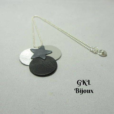 Voici ce que je viens d'ajouter dans ma boutique #etsy : Collier cuir fin, collier femme, rond argenté, gris et noir, étoile gris métal, chaîne fine bille et fermoir pression http://etsy.me/2AHggAk #bijoux #collier #gris  #colliercuir #etoilesetformescelestes #cercle #minimaliste