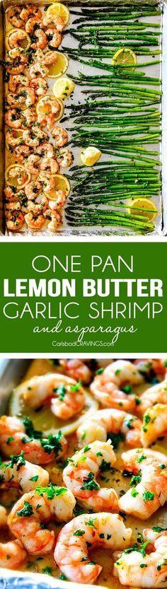One Pan Roasted Lemon Butter Garlic Shrimp and Asparagus bursting with flavor an…