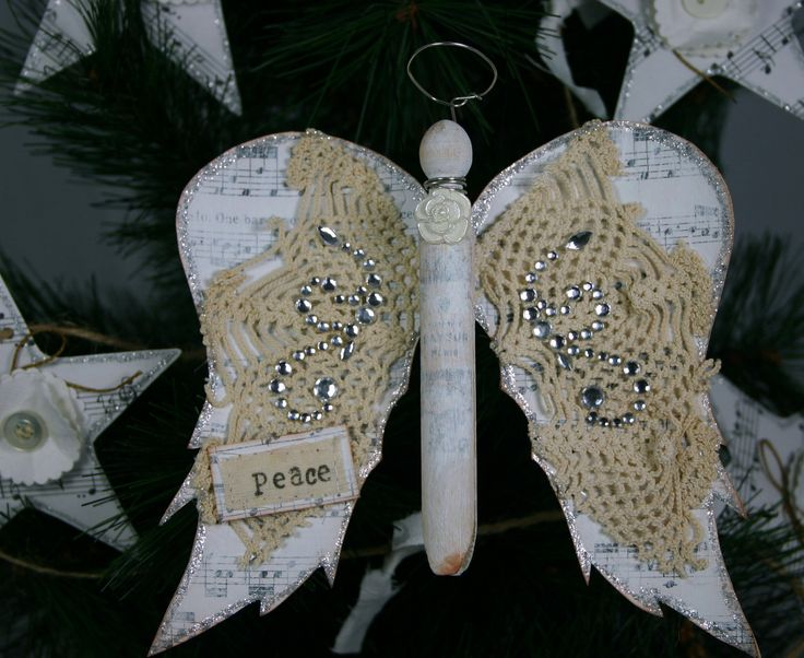 Angel Ornament 'PEACE' French Country Cottage Vintage Clothes Pin. $7.00, via Etsy.