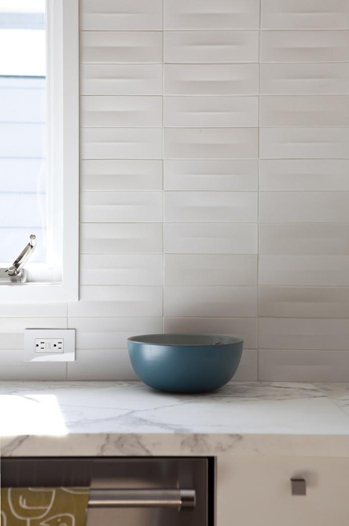 LOVE this tile. Remodelista, Medium Plenty, Oakland kitchen, Calacatta marble counter, Heath Ceramic dimensional tiles