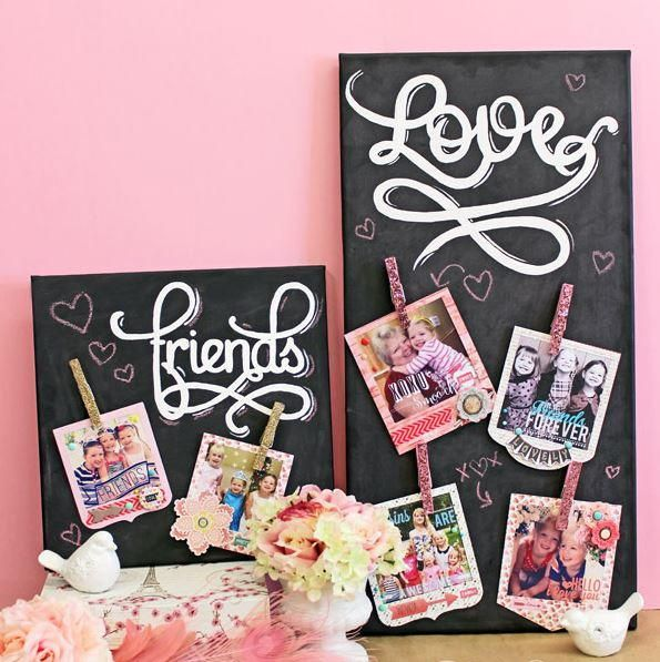 If you're looking for Instagram photo ideas, use your favorite Instagrams to make the Glitter Clothespins Chalkboard Canvas. This beautiful DIY home decor will make a gorgeous addition to your home. Chalkboard paint crafts are the best!