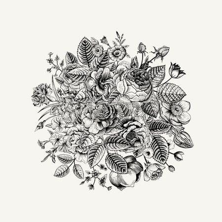 Vintage bouquet de vecteur floral avec Black White fleurs de jardin d t  Banque d'images
