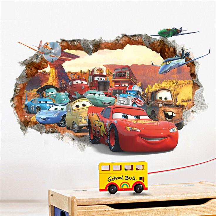 Pixar 3D wall hole illusion Cars Car Brick wall Art decal vinyl bedroom decoration boy gift birthday
