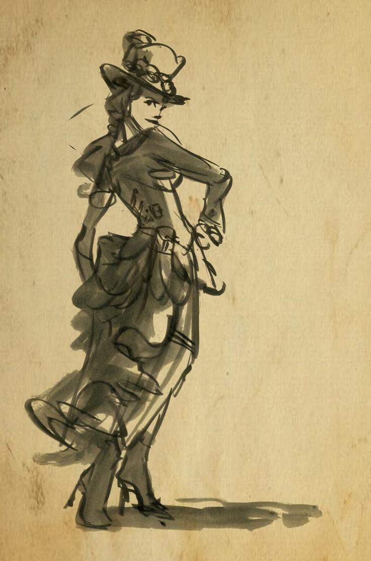 Steampunk quicksketch. | Art | Fashion Sketches | Pinterest | Steampunk costume Steampunk and Love