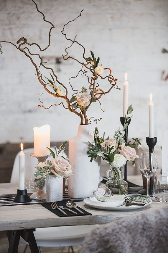 Flowers by Floral Menagerie, Styling by Lemonbox Studios Contemporary Scandinavian winter wedding inspiration | Photo by Tandem Photo | Read more - http://www.100layercake.com/blog/?p=83407