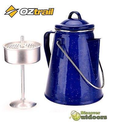 NEW 2 LITRE Oztrail Enamel COFFEE Tea Pot - for CAMPING Caravan Tent HIKING