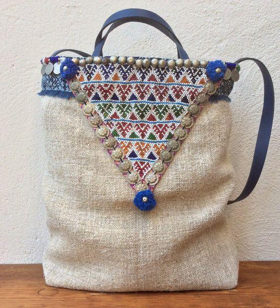 Graanzak tote bag met tribal details by KussenvanPaula on Etsy