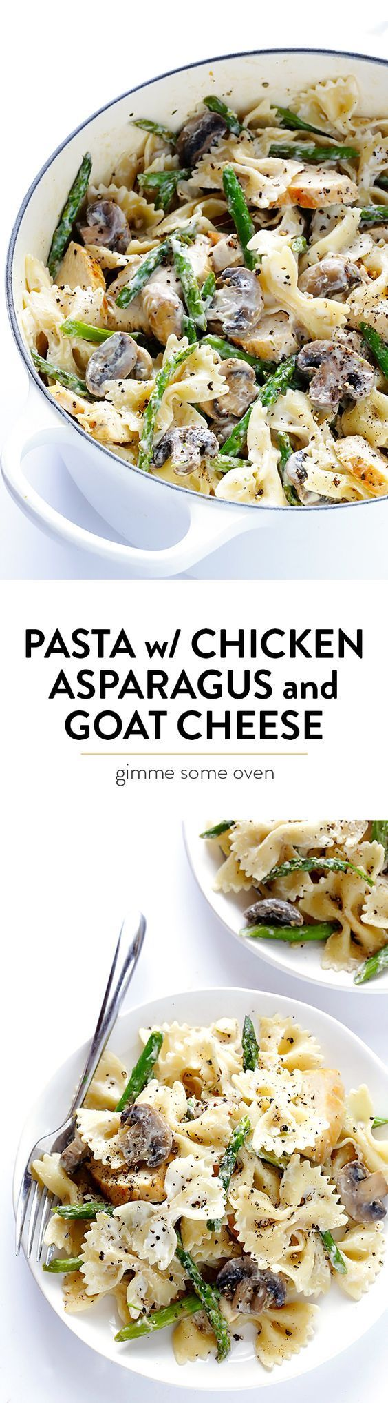 This pasta is ready to go in about 30 minutes, it's made with the easiest goat cheese sauce EVER, and it's wonderfully hearty and delicious! | gimmesomeoven.com
