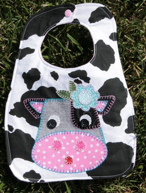 Charlene the Cow Bib - Baby and Toddler - Hand Appliqued. $15.00, via Etsy.