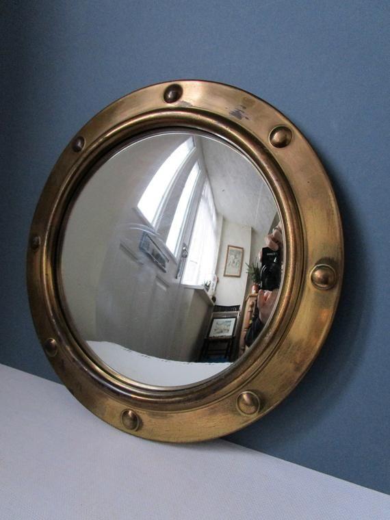 Brass Porthole Mirror 1940s 50s Retro, Vintage Brass Mirror Wall Hanging