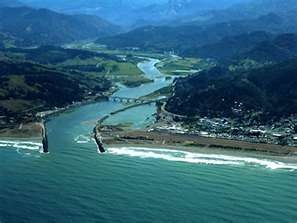 Pacific Ocean, Rogue River, airport, and Gold Beach, Oregon