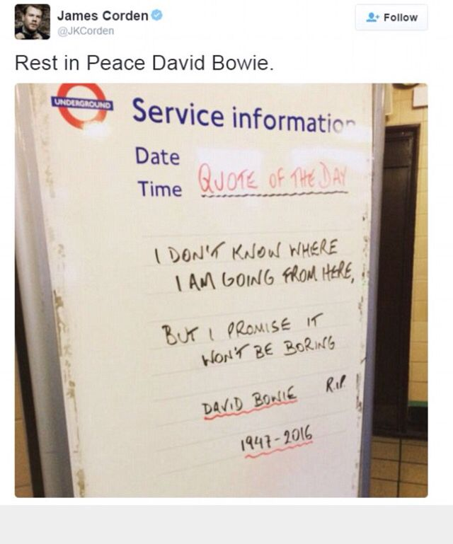 David Bowie tube quote underground London