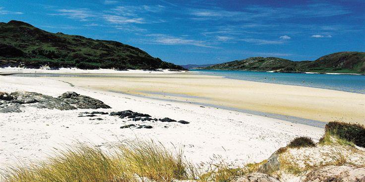 The white sandy beach at Morar, Lochaber