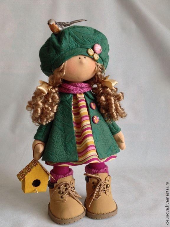 Весеннее настроение - тёмно-зелёный,интерьерная кукла,текстильная кукла