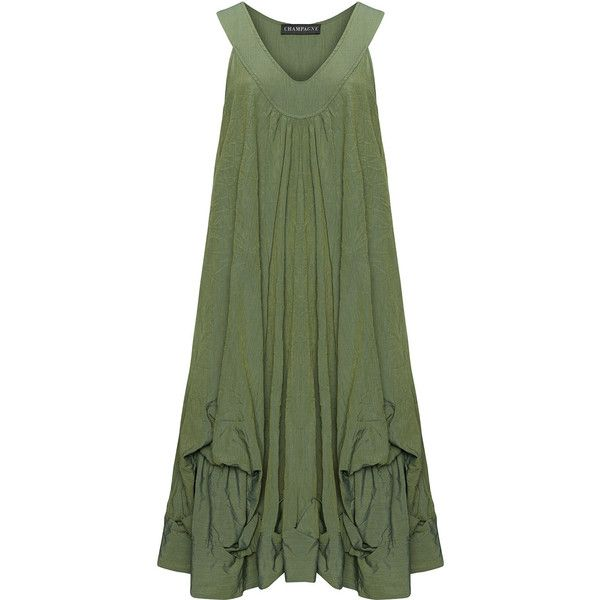 Champagne Green Plus Size Hem detail linen dress ($235) found on Polyvore featuring dresses, green, plus size, green sundress, ruched dress, plus size midi dresses, sundress dresses and plus size sundress