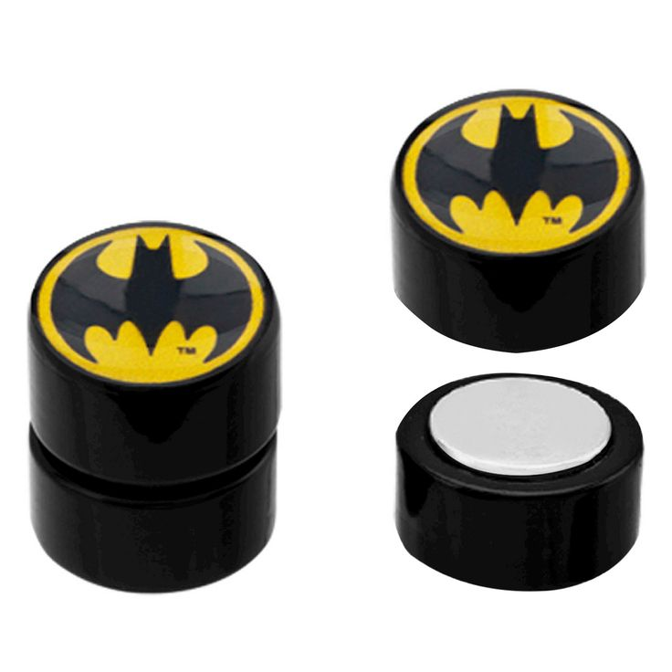 DC Comics Batman Logo Acrylic and Stainless Steel Magnetic Earrings - Black, Adult Unisex, Black/Silver