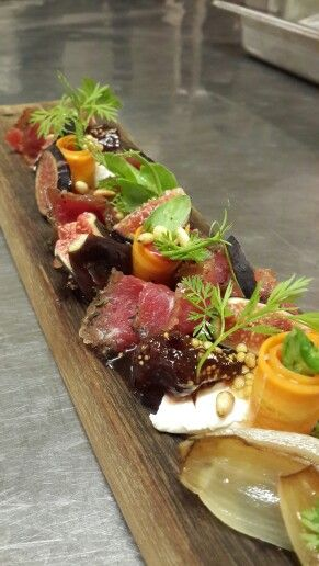 Pepper cured beef with magic man figs
