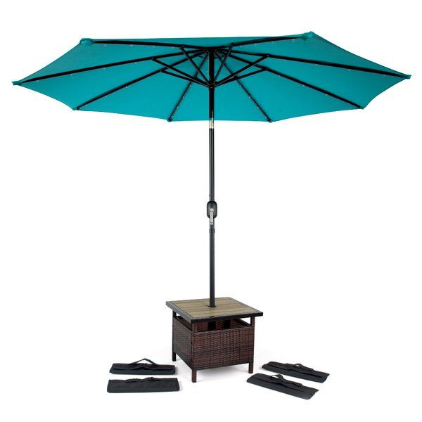 Just For You Linke Square Pe Rattan Side Table With 4 Sandbags By Rosecliff Heights Furniture Patiof Patio Umbrella Stand Patio Table Umbrella Patio Umbrella