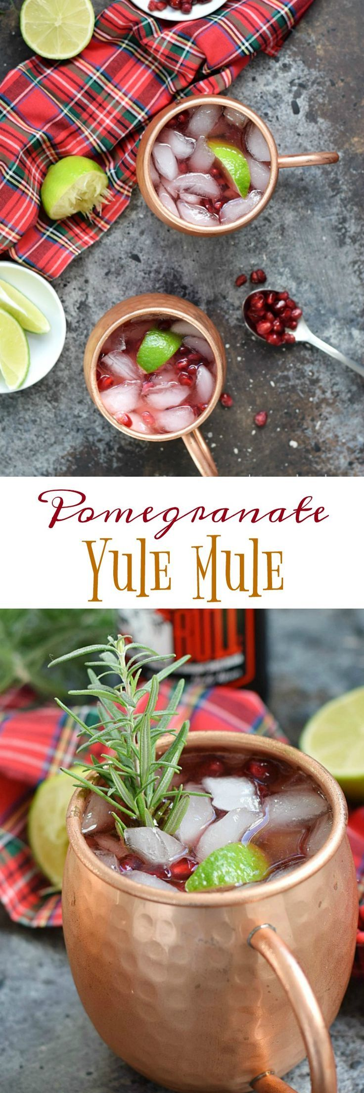 This Pomegranate Yule Mule is so simple make, you just need pomegranate juice, vodka, ginger beer, limes, and some ice for this perfectly delicious holiday cocktail | cookingwithcurls.com