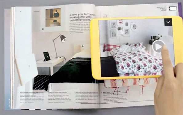 IKEA AUGMENTED REALITY KATALOG | Mit einer Auflage von über 211 Millionen und 43 mit AR erweiterten Katalogseiten ist die IKEA App eine Augmented Reality Experience der Superlative. Anwender können sowohl animierte Modelle von Kleiderschränken als auch inspirierende Videos zu verschiedenen Möbelstücken mit der App ansehen.