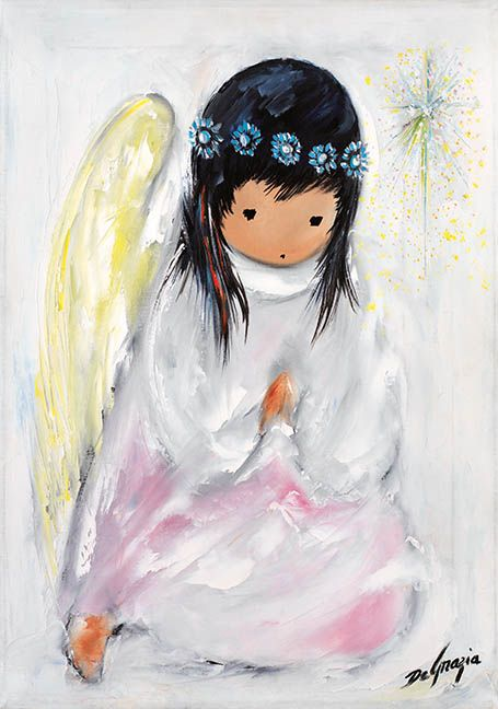 """These are a few of DeGrazia's most popular paintings. Hope you enjoy """"A Little Prayer"""" as much as everyone else does! #NationalHistoricDistrict #DeGrazia #Artist #Ettore #Ted #GalleryInTheSun #ArtGallery #Gallery #Adobe #Tucson #Arizona #AZ #Catalinas #Oil #Paintings #Praying #Girl #Angel"""