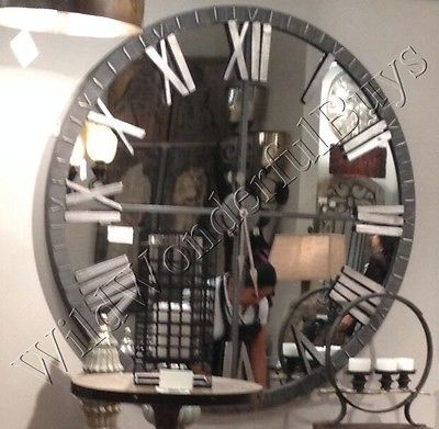 """Mirrored Wall Clock 60""""D Round Mirror Roman Numeral Industrial Style Extra Large"""