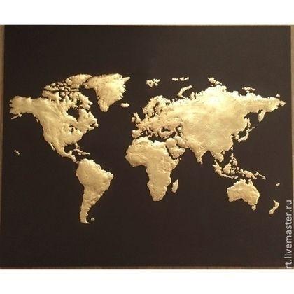 Абстракция ручной работы. Ярмарка Мастеров - ручная работа. Купить карта мира. Handmade. Золотой, подарок, карта, поталь, интерьер
