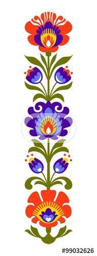 Vector: Polish folk flowers papercut