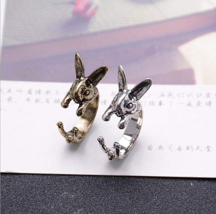 2016  Retro Cute Animal Bunny Rabbit Rings for Women Adjustable Animal Rings for Girls Female Ring Ring