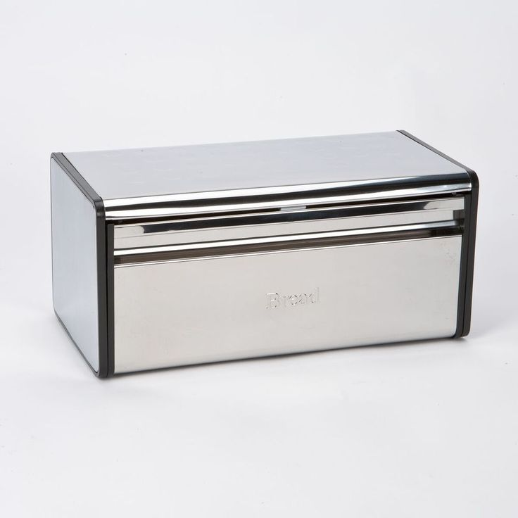 Steel Bread Bin Kitchen Food Storage Container Loaf Top Box Contemporary Front  #HIGHLANDS #Contemporary