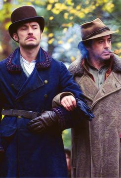 """Old married couple out for a stroll.  Jude Law and Robert Downey Jr. in """"Sherlock Holmes: A Game of Shadows"""""""