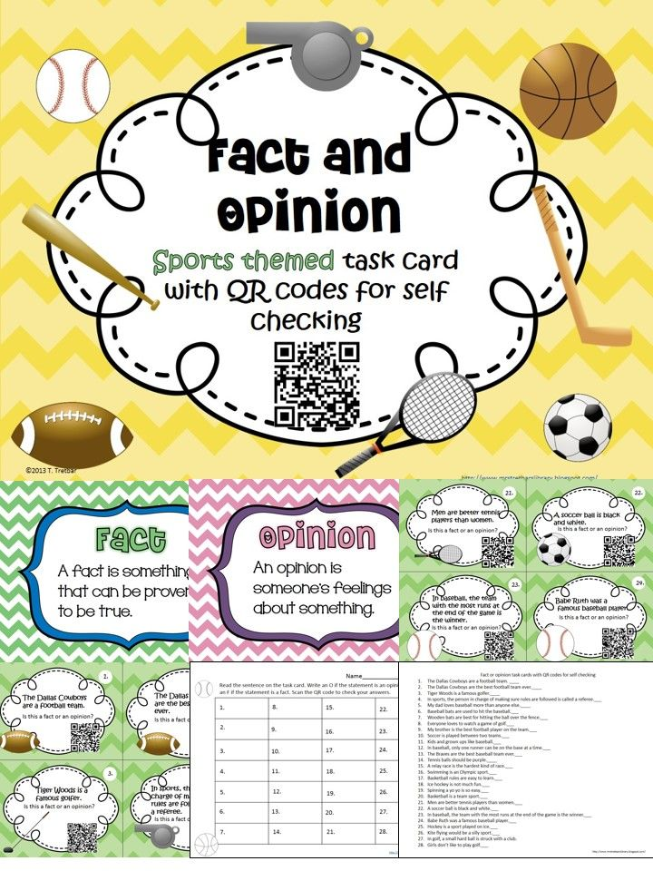 There are 28 sports themed task cards in this set. Each card has a statement in which the student must determine if it is a fact or an opinion. The QR code can be scanned with a smart phone or an ipad to reveal the answer. You'll need a QR scanner app. Most are free.